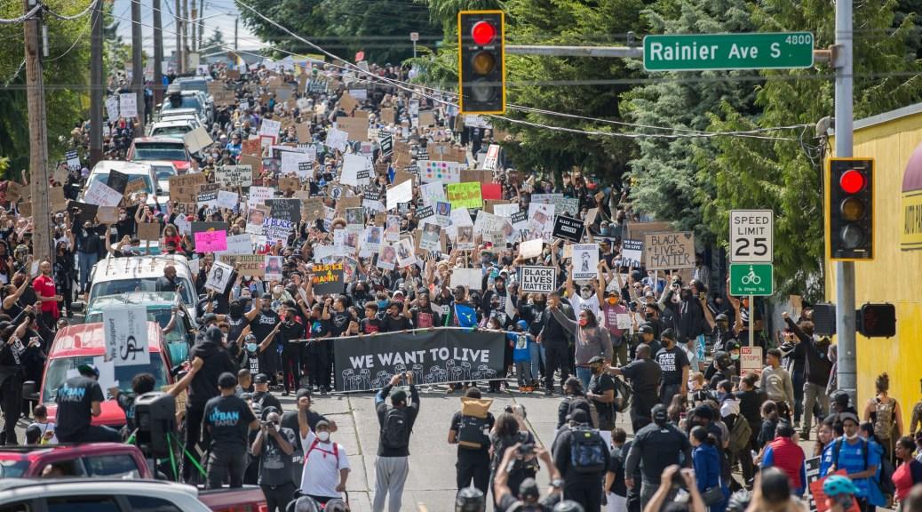西雅图上周六数千人参与支援黑人游行