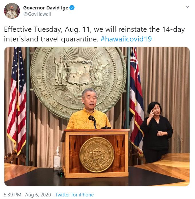 疫情轻微反弹 夏威夷州恢复旅行禁令