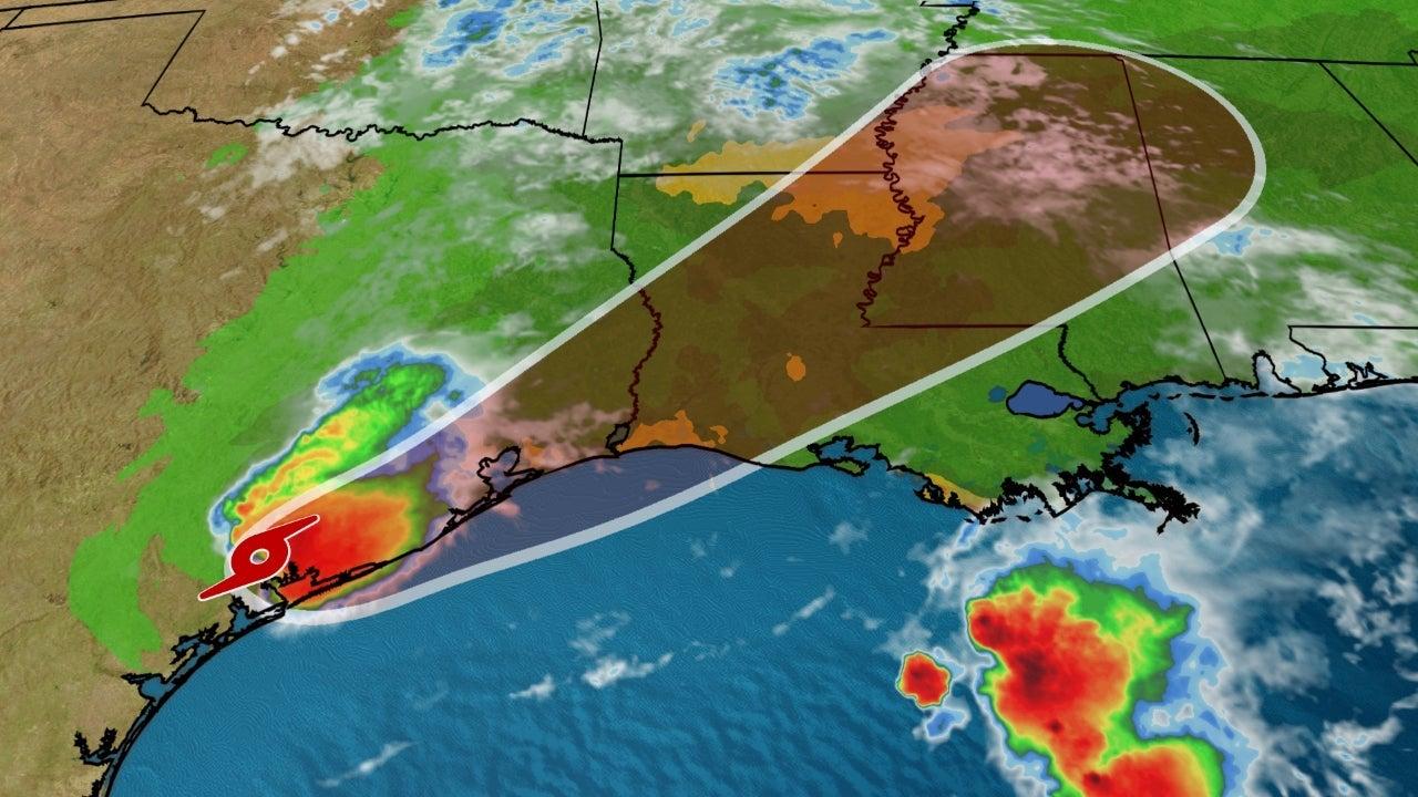 """热带风暴""""贝塔""""正在从德州海岸线向中部内陆移动"""