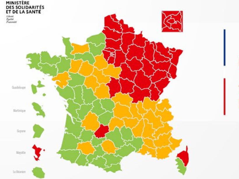 欧盟将各地区按三色标准标区分新冠感染程度
