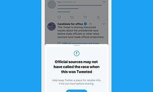 推特宣布大选结果前任何胜选贴文都会贴上警告标签