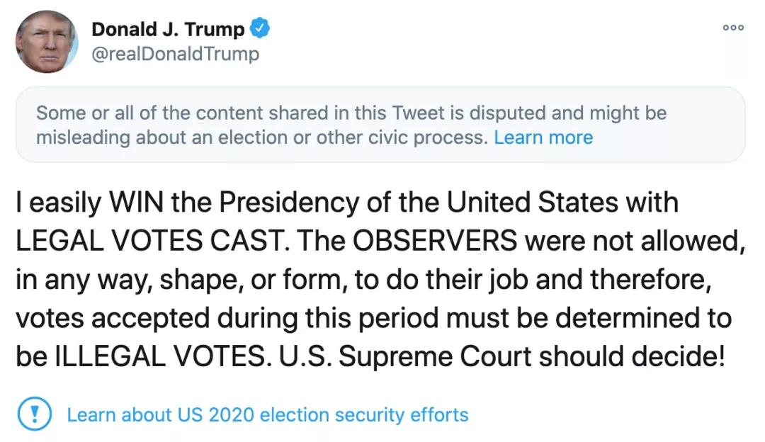 特朗普:民主党试图盗窃选举结果