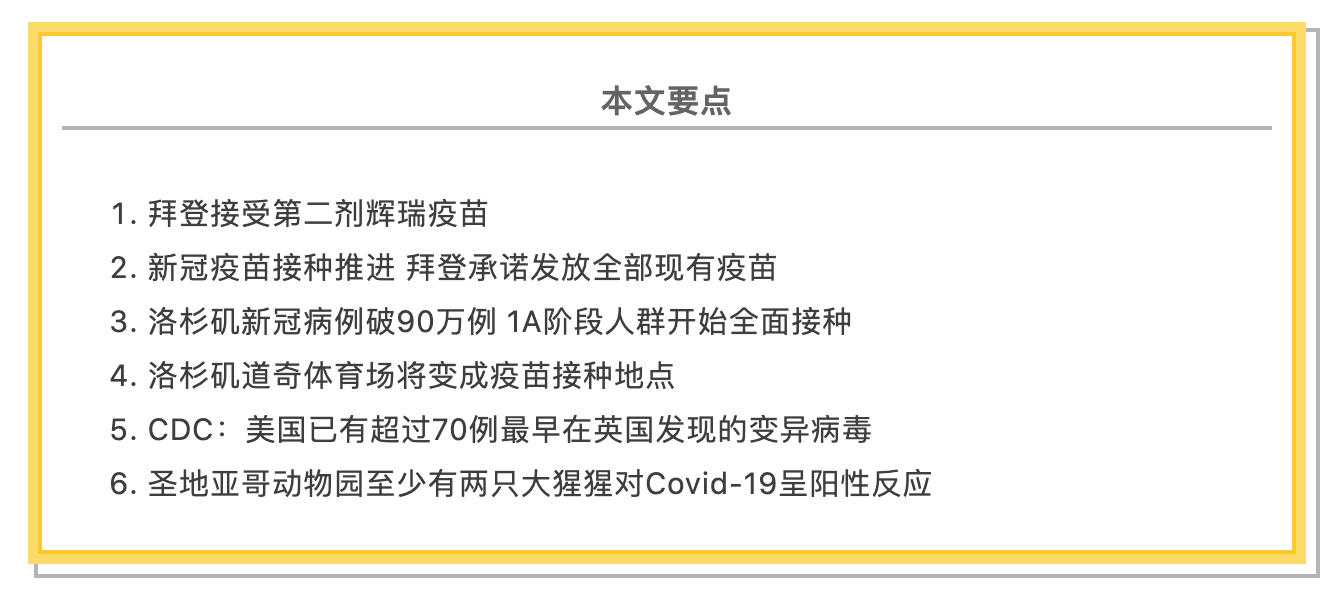 1/11美国疫情更新:中国驻美使馆呼吁同胞少出行助抗疫;拜登接种第二剂疫苗,并承诺发放全部现有疫苗