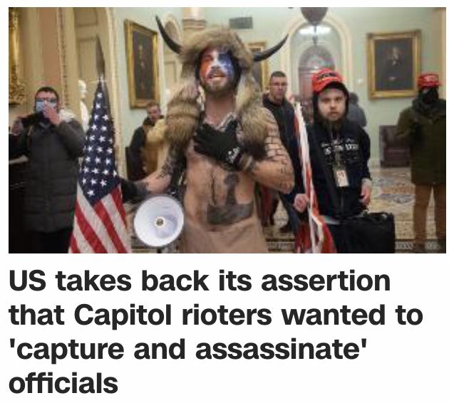 """美检方撤回国会大厦暴徒打算""""俘虏及暗杀""""官员的断言"""