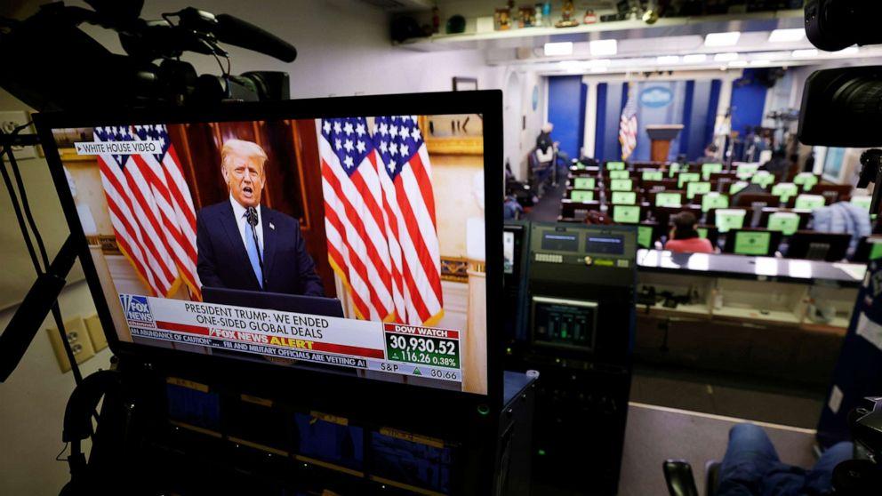 特朗普周二下午于白宫发布告别视频