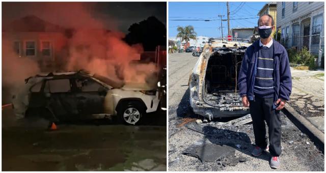 奥克兰2名亚裔男子一觉醒来发现自家车被烧成废铁!