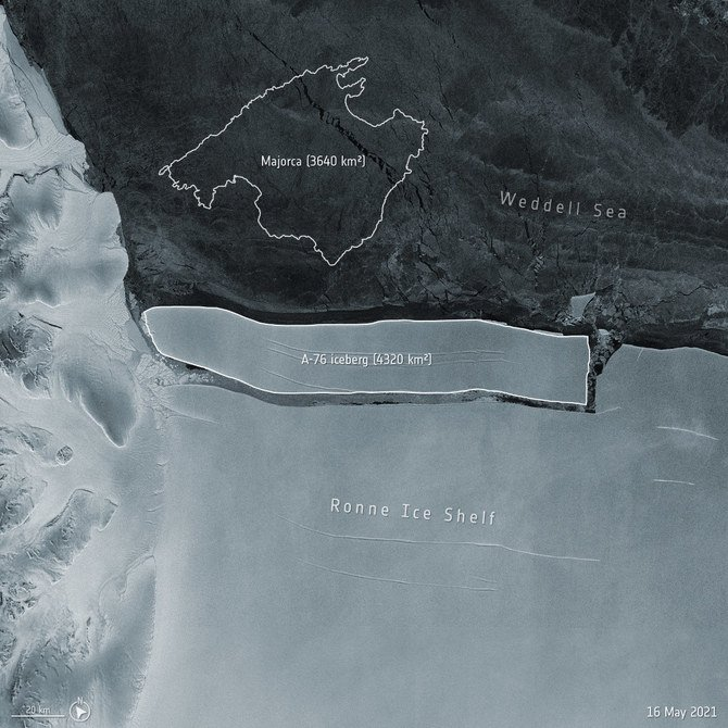 南极洲龙尼冰棚脱离巨大冰块形成全球最大冰山