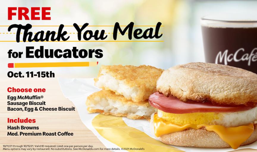 美国麦当劳®以免费感恩餐向全国教育工作人员致敬
